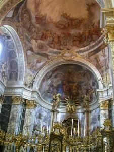 santuario madonna di san luca, interno, affreschi della zona absidale